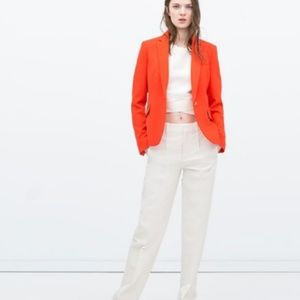 ZARA Basic Blazer Jacket  Carrot Orange Career XS